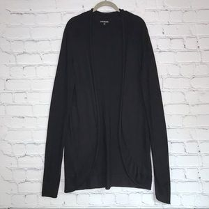 Express Long Black Cardigan Open Front Long Sleeve
